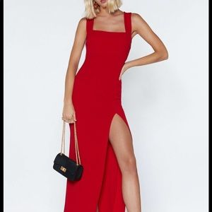 Nasty Gal Square With Me Red Maxi Dress
